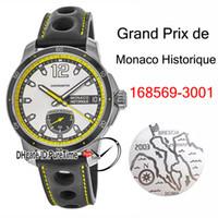 Puretime nuovo cuoio Grand Prix de Monaco Historique Power Reserve Autoamtic Mens Watch 168569-3001 cassa di acciaio giallo interno Bianco Nero Dail