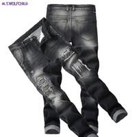 Mode 2018 jeans pour hommes mens trou troué patchwork denim pantalon décontracté droite slim élasticité pantalon locomotive 28-42