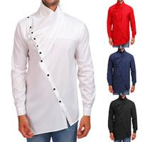 Moda para hombre camisa Casual manga larga cuello alto irregular plisado  Tops Color sólido botón personalidad 3b7b907aa01