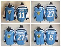 Qualidade máxima ! Team Finland Suomi Olímpico Jersey 8 Teemu Selanne 11 Saku Koivu 27 Teppo Numminen azul do hóquei CCM Vintage