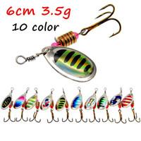 10pcs / lot 10 colori misti Spinner metallo adesca i richiami 6 # Pesca Ganci BL_14