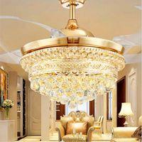 42 inç led görünmez tavan fanı ışık tavan kristal fan ışık uzaktan kumanda ile basit modern geri çekilebilir kemer kolye lamba
