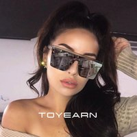 2019 New Oversized Sunglasses Women Big Frame Square Flat To...
