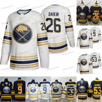 Mens Buffalo Sabres Captain C 9 Jack Eichel Maglie Gold 50th Patch 26 Rasmus Dahlin 53 Jeff Skinner 100% maglia cucita terza hockey a buon mercato