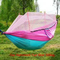 260 * 140 centímetros Mosquito Net Hammock Parachute exterior Cloth Hammock campo Camping Tent Jardim Camping balanço pendurado Cama Com VT1736 Corda Gancho