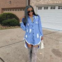 الهيب هوب الدينيم الأزرق جان قميص اللباس ربيع الخريف ممزق جينز الشرابة مصمم الفساتين