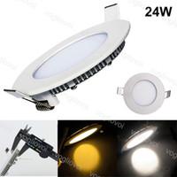 Downlights 24W 280mm Schnitt Rundeinbau Ultra dünn Aluminium-Acryl-Seite emittierende warme weiße LED für Büroklinik Wohnzimmer DHL