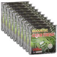 10 مجموعات أليس سلاسل الغيتار الصوتية المغلفة سبائك النحاس 6 سلاسل مجموعة A407L 012