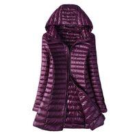 2019 осень зимняя куртка женщины утка вниз стройные длинные парки женские теплые пальто с капюшоном плюс размер 5xl 6xL ультра светлые верхние пальто