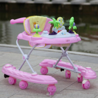 Multifunctional Baby Walker with 8 Wheels Cartoon Plastic Ba...