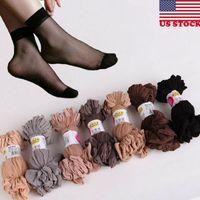 Носки Hosiery 10 Пары Женщины Нейлон Эластичные Короткие Лодыжки Чистые Чулки Шелк США