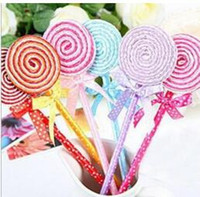 Vente en gros - au détail Cute Lollipop Pen Stylo à bille Fournitures de bureau Papeterie interchangeable bleu 35mm 35pcs / lot