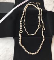 أزياء شعبية العلامة التجارية لؤلؤة سترة سلسلة قلادة مصمم للمرأة حفل زفاف المجوهرات الفاخرة للعروس مع مربع