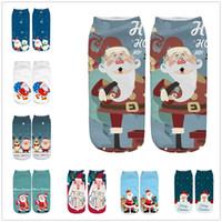 Trabalho térmica Socks Negócios Mulheres Homem 3D de Natal de Santa Elk Imprimir Médias Sports Meias de Inverno Mid Tubo deslizador Piso meias