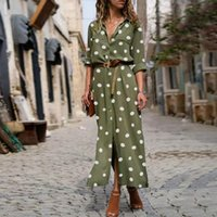 Women Summer Dot Print Long Sleeve Button Long Dress Party B...