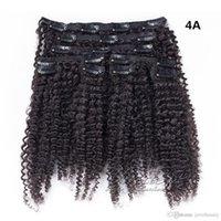 100% non trasformati peruviano dei capelli 4A 4B 4C Vergine cuticola umana Allineati 140g Colore Naturale Afro crespo riccio della clip nell'estensione dei capelli umani