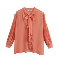 D903 Ladies Summer Ruffles Long Sleeve Solid Color Chiffon B...