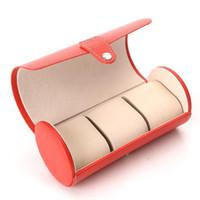 Neuer PU-Kortex 3 Position Runde Uhrenbox Hand Kette Box Schmuck Zähler Display-Boxen