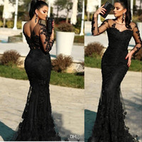 New African Black Prom Dresses Jewel Neck Illusion Lace Appl...