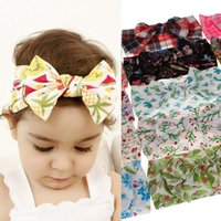 Baby Boys Girl Bow Fasce Accessori per capelli Grid Flower Fruit Printed Ins Hair Band Kids Copricapo Bohemia Fashion 15 Colors Boutique