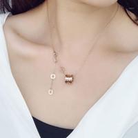 Garota colar grande numeral romano 18k rosa ouro preto e branco cerâmico clavícula cadeia jóias1
