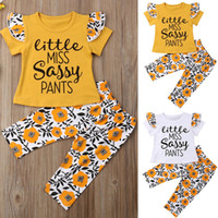 Sunflowers Infant Summer Girls Clothing Sets Baby Girls Shor...