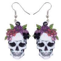Dangle Chandelier Acrílico Sorriso Halloween Flower Brincos de Crânio Drop Grande Longo Novidade Punk Jóias para mulheres meninas senhoras adolescente festa
