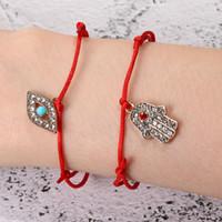 Handmade Red String Lucky Charm Bractele Bracete Fatima Hamsa рукой синий турецкий злой синий глаз браслеты для женщин мужчин ювелирные изделия браслет дружбы