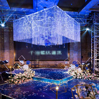 use for hangging only )Roman Style Luxury square shape 2 layers wedding decorations stage string column backdrop for your party best0553