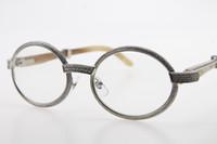 Atacado-White Genuine Natural Full Frame pedras menores óculos 7550178 Sunglasses Redonda SunGlasses Vintage novo designer óculos quentes