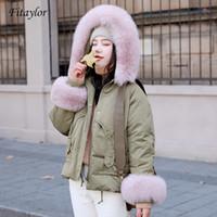 Mulheres para baixo parkas fitaylor natural pato pato jaqueta de inverno mulheres com capuz casaco curto casaco feminino solto grosso quente neve outwear