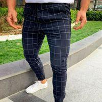 Pantalones deportivos para hombre caliente Chándal largo a cuadros Flaco Elástico Ajuste Entrenamiento Joggers Pantalones de chándal casuales Pantalones casuales masculinos M-3XL