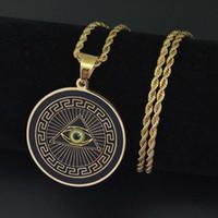 Hip Hop Eye of Providence Anhänger Halsketten für Männer All-Seeing Eye Luxus Halskette Edelstahl kubanischen Ketten Religion Hundemarke Schmuck