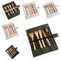 خشبي أدوات المائدة مجموعة أواني عيدان ملعقة سكين شوكة فرشاة سترو تلقى حقيبة 7 قطع مجموعة الطبخ أدوات الآمن أطباق مجموعات WY309Q
