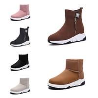싼 비 브랜드 패션 여성 부츠 트리플 블랙 레드 베이지 브라운 스웨이드 겨울 눈 발목 부츠 야외 워킹 신발 35-40 스타일 14