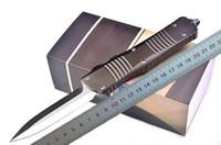 """Alta Qualidade Automática Faca Tática D2 Borda Dupla Spear Point (3,8 """"Mão Cetim) Lâmina T6061 Brown Punho de Sobrevivência Facas com Saco de Nylon"""