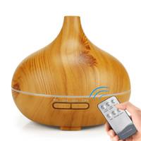 400ML رائحة الهواء المرطب الخشب الحبوب أضواء LED من الضروري النفط الناشر بالموجات فوق الصوتية الروائح صانع ميست الكهربائية للمنازل