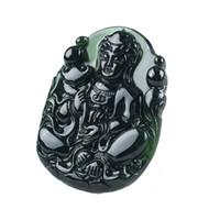 Chino Natural Negro Verde Jadeíta Jade Amuleto Collar Colgante Regalo de La Joyería de Piedras Preciosas Al Por Mayor