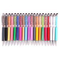 Самый дешевый Блеск Шариковая Ручка Студент bling bling пишущие ручки Красочные Ручки Crystal Ball черные чернила Сенсорные Ручки Для Школьных Канцелярских принадлежностей
