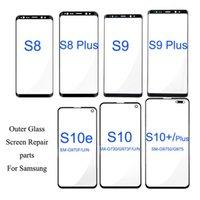 2pcs / lot Ön Dış Ekran Cam Lens Samsung Galaxy S10 Artı S10E S9 S8 için Değiştirme Artı Not 8 9 Ekran LCD Cam