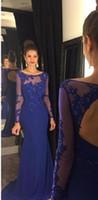 Королевские синие формальные вечерние платья 2020 новое прибытие аппликационные тюль прозрачные с длинным рукавом выпускные платья русалка иллюзия женские платья