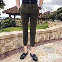 2020 Business Casual Kleid Hose Männer Knöchel-Längen-Normallack-dünne Klage Pfannen Marke Formal Streethose Pantalon Homme
