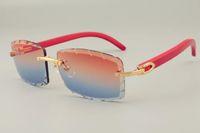 2019 trasporto libero di vendita calda personalizzato disegno scolpito occhiali da sole 8.100.915 naturale braccio rosso anche occhiali, unisex, lenti di spessore 3.0