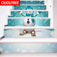 Decorate Home 3D snowman cartoon art wall Stair sticker deco...