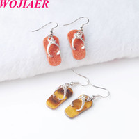 Wojiier Natural Gem Stone Bead Flip-Flobs Sandalias Colgante Hook Pendientes Pendientes de verano Playa de verano para mujer Joyería DBR802