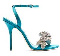 Effacer Hot Sale-Chic en satin de soie cristal chaussures de mariage mariée boucle cheville strass Sandales fleur haut talons aiguilles sandales d'été du talon