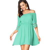 Donne Estate Cover Up Beach Dress Bohemian Off Pannelli a spalla Ruffles Manica Skater A Line Mini Dress Size (S-XL)
