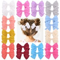 1Set 2Pcs 3. 55 Inch Grosgrain Ribbon Solid Bows With Clips H...