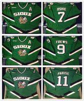 Kuzey Dakota Üniversitesi Mücadele Sioux TJ Oshie 7 Jonathan Theews 9 Zach Parise 11 Retro Hokey Jersey Erkek Dikişli Özel Numara Adı