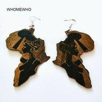 Brown Legno Africa Mappa tribale inciso tropicale del nero di modo l'orecchino delle donne Retro monili di legno accessorio africano Hiphop
